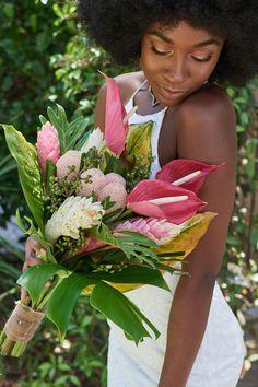 #stylemepretty #tropicalbouquet #uniquebouquet #bridebouquet #weddingbouquet #pinkbouquet