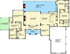 Love, love love this plan. Study would be crft room, dining would be study, add a vanity area to master. Love this! 100002HR Architectural Designs