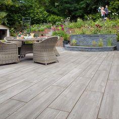 Garden Tiles, Wooden Garden Planters, Garden Paving, Patio Slabs, Patio Tiles, Outdoor Tiles, Outdoor Flooring, Back Gardens, Outdoor Gardens