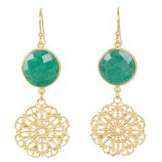 Monroe Chantilly Lace Earrings in Emerald