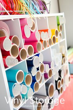 Craft Vinyl Storage idea:: Use a cheap shoe rack! Brilliant. There are loads of fantastic craft room organization ideas on www.CraftaholicsAnonymous.net