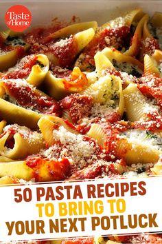 50 pasta recipes to bring to your next potluck potluck recipes, oven recipes, pasta Healthy Pasta Recipes, Potluck Recipes, Easy Dinner Recipes, Gourmet Recipes, Easy Meals, Cooking Recipes, Potluck Dishes, Healthy Pastas, Drink Recipes