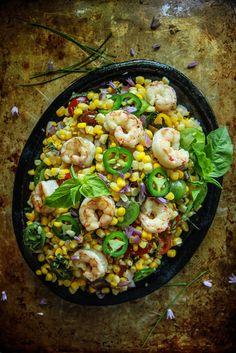 14. Hot Shrimp, Corn, and Basil Salad #easy #potluck #recipes…