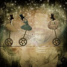 She dreamed of flying circuses in the twinkling twilight of the night sky...painting by Kathy Grieb Kennedy.
