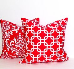 Premier Prints RED Damask Decorative Pillow Cover by OldStation,