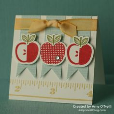 A darling little back-to-school card by Amy featuring Perfectly Preserved & Measuring Stick. Teacher Appreciation Cards, Teacher Thank You Cards, Teacher Gifts, Apple Prints, Creative Cards, Creative Ideas, Card Sketches, Cool Cards, I Card