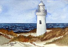 ORIGINAL AQUARELL - Leuchtturm in den Dünen. | eBay