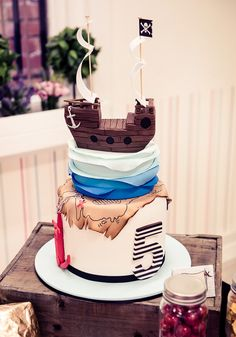 Ship & Treasure Map Inspired Pirate cake!