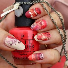Mandala Moyou London orange   framboise nail art stamping