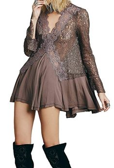 e1e0e55a95 R.Vivimos Women Lace Sexy See Through Long Sleeve Swing Short Dresses Small  Brown Lace