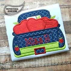 Apple Truck Applique - 4 Sizes! | What's New | Machine Embroidery Designs | SWAKembroidery.com Beau Mitchell Boutique