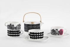 A relaxed black and white Skandium Marimekko ceramic tableware, with intricate town illustrations and bold geometrical elements. Perfect for a relaxed jet flight? Marimekko, Contemporary Cushions, Dining Ware, Teapots And Cups, Teacups, Ceramic Tableware, Scandinavian Interior, Monochrome Interior, Home And Deco