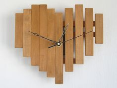 Heart wall clock gift present wooden love cherry wood by Paladim