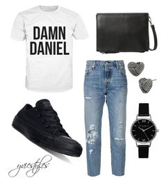 """""""DAMN!"""" by yviestyle ❤ liked on Polyvore featuring Converse, Levi's, MANGO, Topshop and Betsey Johnson"""