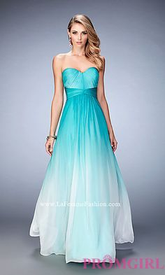 Empire Waist Long Ombre Strapless Prom Dress by La Femme at PromGirl.com