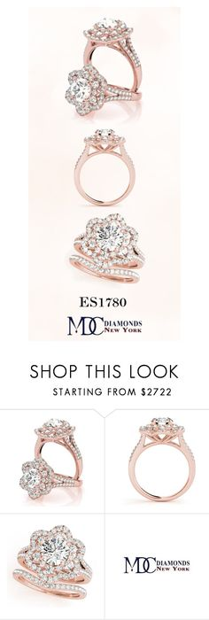 """""""ES1780 Double Halo Floral Diamond Bridal Set with Split Band in Rose Gold"""" by mdc-diamonds ❤ liked on Polyvore featuring country"""