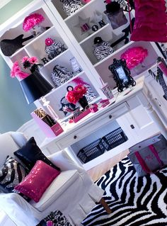 Really want a craft room like this! Im so in love with the zebra print and pink!