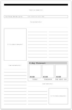 blank newspaper template for kids printable | Newspaper