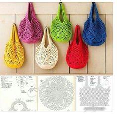 """Comment Crochet sac dans le célèbre - Step by Step ~ magazines crochet"", ""Shopping bags Crafts and Crochet ~ Artesanatos e Crochet"", ""How to Croch"