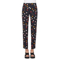 Akris Punto Polka-Dot Pleated Slim-Leg Ankle Pants