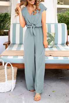 V Neck Solid Jumpsuits Lady Bow Loose Short Sleeve Long Romper Playsui Boho Jumpsuit, Casual Jumpsuit, Jumpsuit With Sleeves, Summer Jumpsuit, Backless Jumpsuit, Bodycon Jumpsuit, Casual Outfits, Cute Outfits, Fashion Outfits