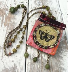 Bohemian clothing accessory fabric pendant boho by crushedcameo