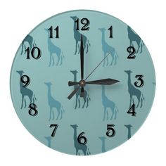 Aqua Giraffes Wall Clocks