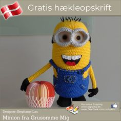 """Despicable Me Minion. See the step-by-step making of this detailed minion from the popular """"Despicable Me"""". Crochet your very own minion with the free pattern. Minion Crochet Patterns, Minion Pattern, Crochet Pattern Free, Crochet Gratis, Crochet Amigurumi, Cute Crochet, Amigurumi Patterns, Crochet Dolls, Knit Crochet"""