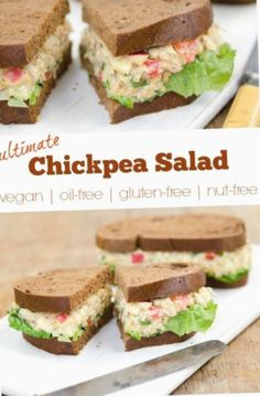 The Ultimate Chickpea Salad! (vegan, gluten-free, oil-free and nut-free) The ULTIMATE Chickpea Salad from renowned cookbook author Dreena Burton. Recipe is also and Lunch Recipes, Whole Food Recipes, Vegetarian Recipes, Cooking Recipes, Healthy Recipes, Vegan Sandwich Recipes, Chickpea Recipes, Healthy Foods, Crockpot Recipes