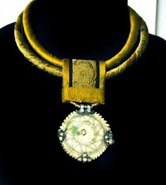 Gold Brocade Silk Necklace with old Indian by gretchenschields, $225.00