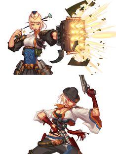 DnF. female gunner / 던파. 여거너 2008, Kang Joo Sung (galgoo) on ArtStation at https://www.artstation.com/artwork/de6mJ