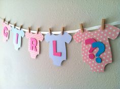 "Onesie ""GIRL/BOY"" Gender Reveal Banner: Pink and Blue Baby Shower Decoration on Etsy, $31.95"