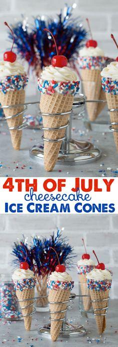 4th of July Cheesecake Ice Cream Cones - no bake vanilla cheesecake piped into 4th of july ice cream cones!