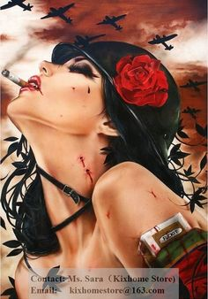 New hand painted Museum quality Scorpio Rising  Smoking Red lip Sexy Girl figure canvas paintings replica,The DirtyLand pop arts-in Painting & Calligraphy from Home & Garden on Aliexpress.com | Alibaba Group