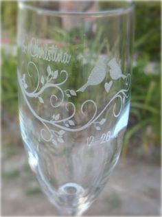 Modern Lovebirds Engraved Wedding Glass