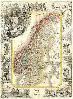 A map of Norway and Sweden,  Geographisk Börnelærdom, Christiania (1847) by Professor Peter Andreas Munch (1810-1863). via A Polar Bear's Tale