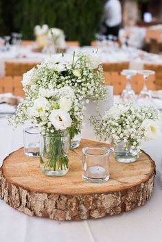 Ideas On How To Make Wedding Centerpieces ★ how to make wedding centerpieces babys breath in the mason jar table decor Learn how to make wedding centerpieces from this post and give your decor a facelift. Wedding centerpieces DIY saves you a ton of cash. Wedding Table Centerpieces, Wedding Flower Arrangements, Flower Centerpieces, Wedding Flowers, Wedding Decorations, Decor Wedding, Wedding Ideas, Centerpiece Ideas, Babys Breath Centerpiece Mason Jar
