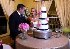 Adorable Wedding Couple at House Plantation Cutting the Cake