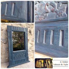 L'Atelier Colours & Style: Restauration et patine d'un miroir bois et plâtre