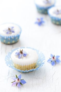 Almond Fairy Cakes with Candied Borage Flowers / I heart cupcakes ❤ Mini Cakes, Cupcake Cakes, Shoe Cakes, 3d Cakes, Cupcake Recipes, Dessert Recipes, Fairy Cakes, Flower Food, Edible Flowers