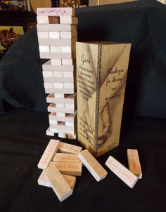 Wedding block tower alternative guest book signing game wood blocks on Etsy, $44.95