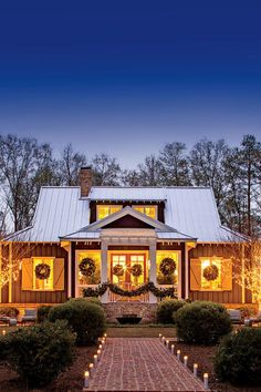 This Cottage is 2000 Square Feet of Holiday Cheer | Editor-at-Large James Farmer welcomes us to his new Perry, Georgia, cottage that's all decked out for Christmas. For the home's architecture, I was inspired by the old post office near my grandfather's family farm in Leroy, Alabama. The Atlanta design firm Spitzmiller and Norris, Inc., helped me interpret the rural vernacular of that old pine- and cedar-clad structure and turn it into a home. (It's a Southern Living House Plan, so you can…