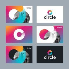 Gradient circle branding by kakhadzen Brand Identity Design, Corporate Design, Business Design, Corporate Branding, Web Design, Creative Design, Design Logo Inspiration, Charity Branding, Social Media Design