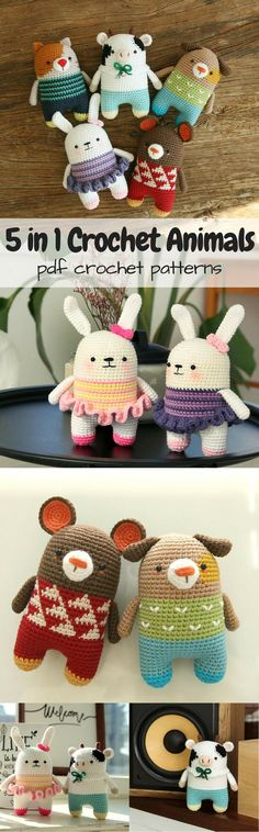 5 crochet animals in 1 pattern - cat, cow, bear, dog and rabbit