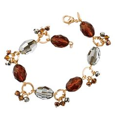 """Avon: Faceted Topaz -Color Collection Link Bracelet. """"Bedazzle them with this sparkling goldtone bracelet with faceted beads. 7 1/4"""" L with 1"""" extender."""""""