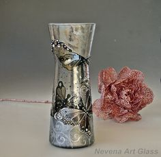Hand Painted Vase, Butterfly Vase, Stained Glass Vase