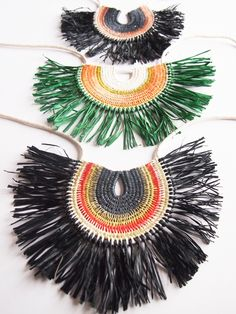 Image of Woven Rope Necklace with Raffia #1