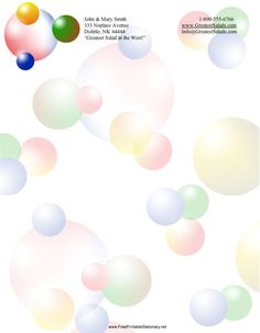 This printable stationery has pastel dots or bubbles in various sizes. Free to download and print