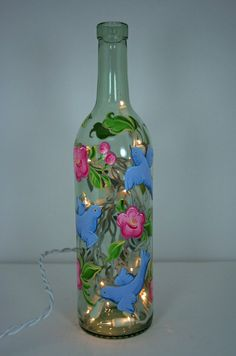 Hand Painted Wine Bottle Light with Birds and Flowers