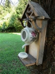 Rustic weathered teapot birdhouse | The white, Birdhouses ...